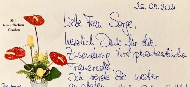 Dankesbrief nach einer Trauerfeier